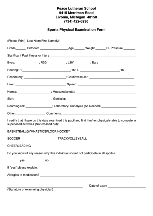 top michigan sports physical form templates free to download in pdf