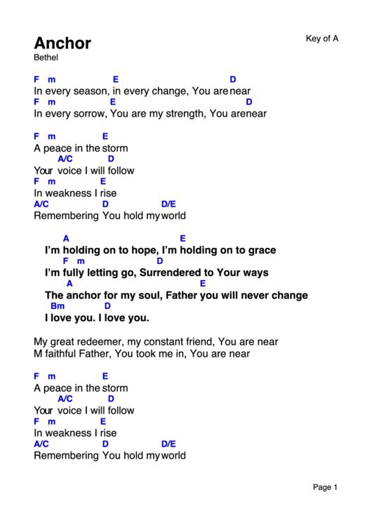 Anchor - Bethel - Worship Chord Chart printable pdf download