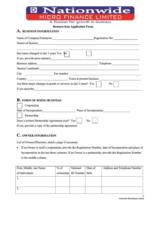 Business Loan Application Form Printable pdf