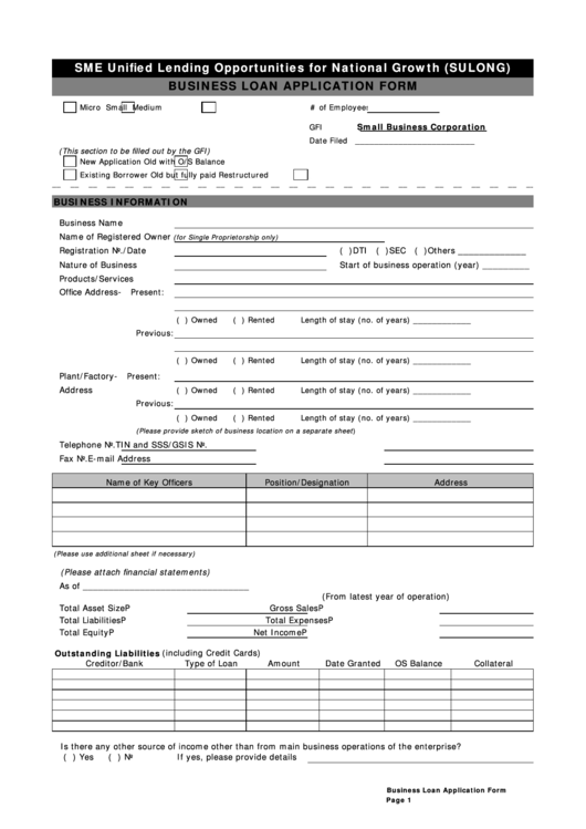 Business Loan Application Form Printable pdf