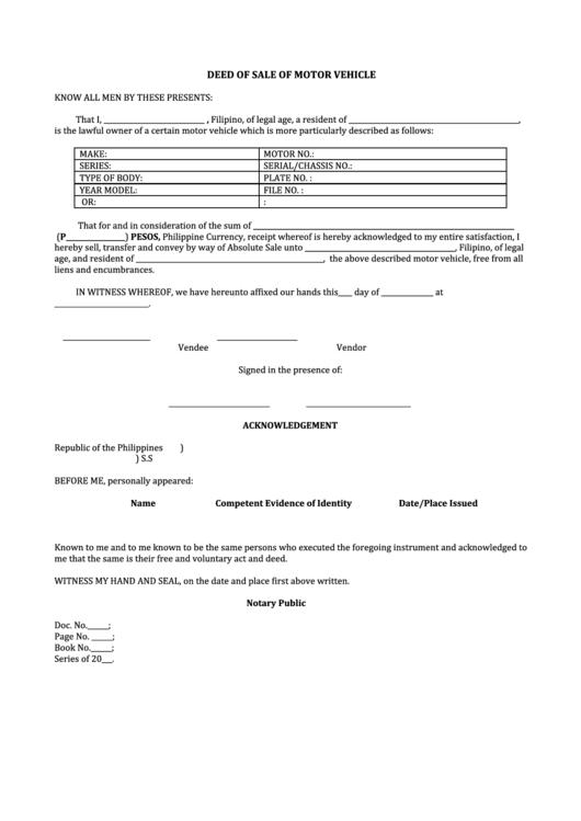 Deed Of Sale Of Motor Vehicle Printable Pdf Download