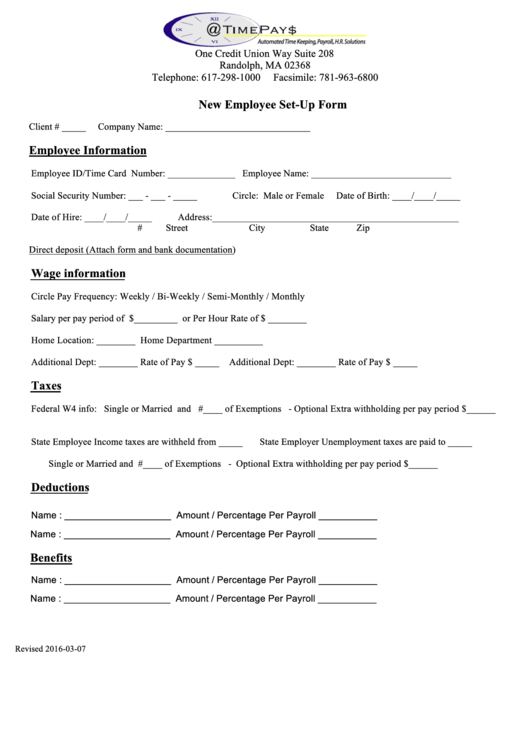new employee set up form printable pdf download