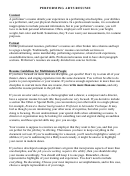 Sample Performing Arts Resume