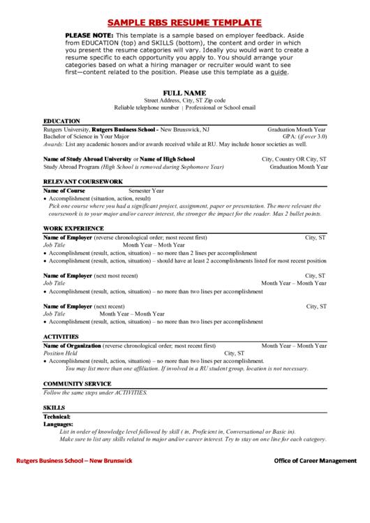 Sample Rbs Resume Template Printable pdf