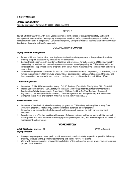 Sample Resume: Safety Manager