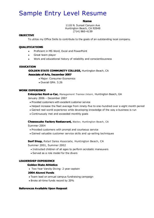 Sample Entry Level Resume Printable pdf