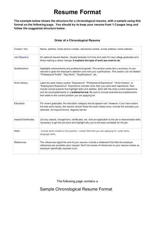 Sample Chronological Resume Format