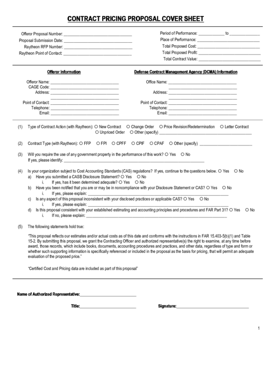 Contract Pricing Proposal Cover Sheet