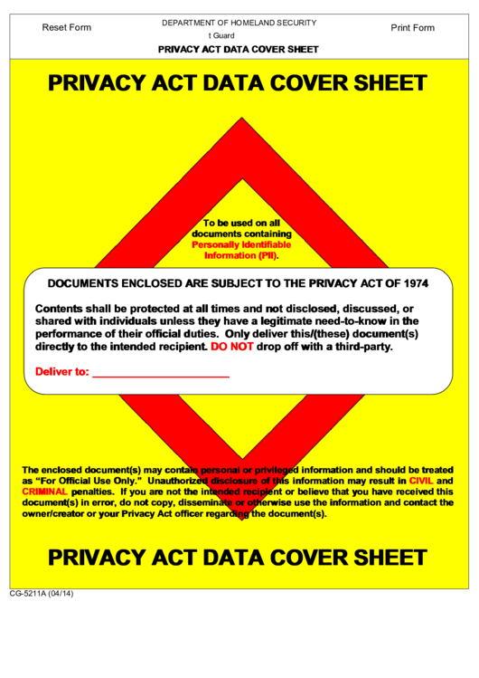 Privacy Act Data Cover Sheet Template