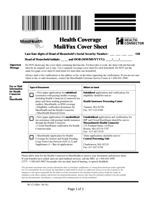 Health Coverage Mail/fax Cover Sheet Template