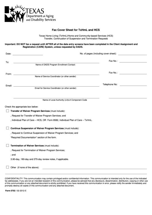 Fillable Form 0702 - Fax Cover Sheet For Txhml And Hcs - Texas Department Of Aging And Disability Services Printable pdf
