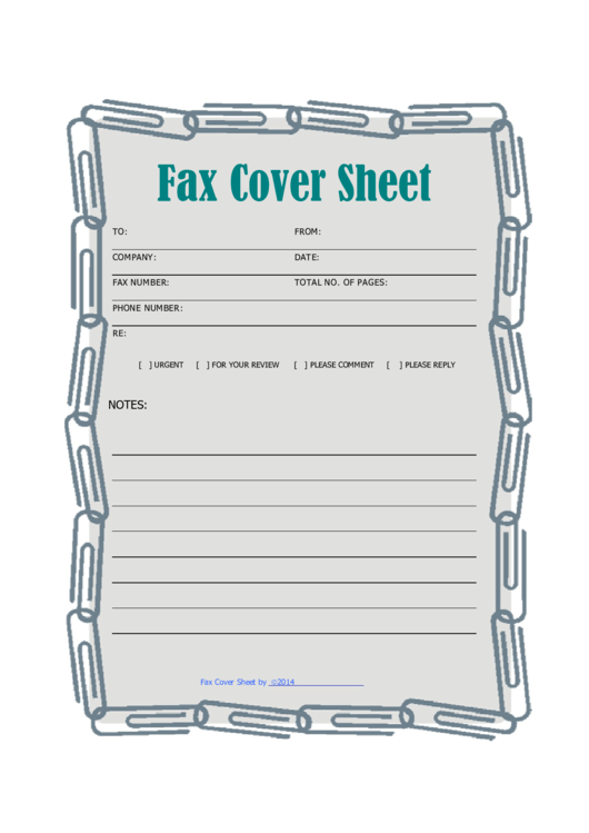 Fax Cover Sheet - Paper Clip Printable pdf