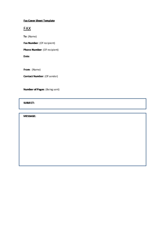 Fax Cover Sheet Template - Blue Border Printable pdf