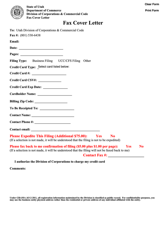 Fillable Fax Cover Letter - State Of Utah Department Of Commerce Printable pdf