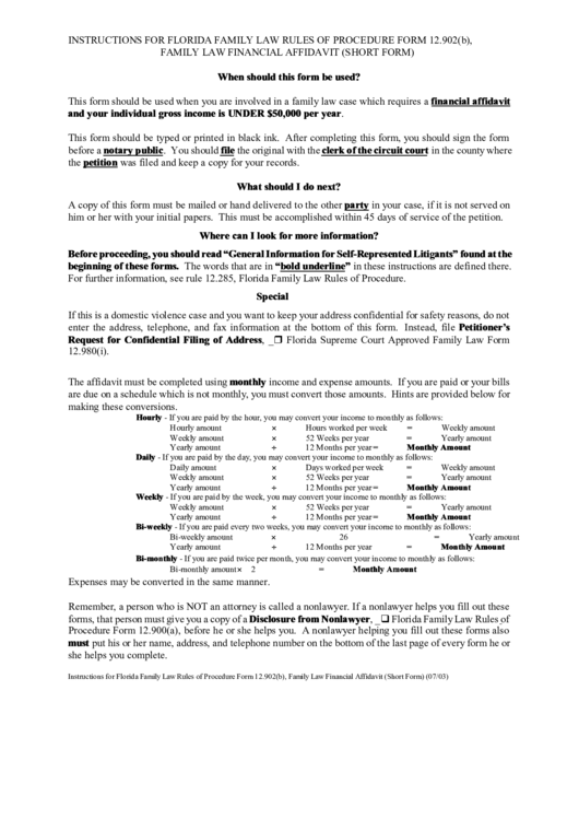 Instructions For Florida Family Law Rules Of Procedure Form 12.902 ...