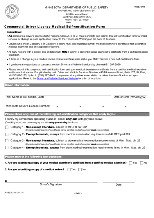 Fillable Commercial Driver License Medical Self-certification Form ...
