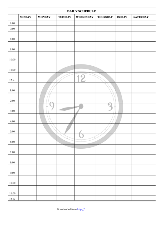 Daily Schedule Template - Clock