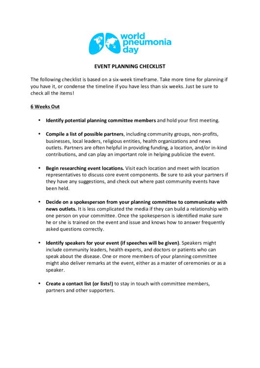 Event Planning Checklist Printable pdf