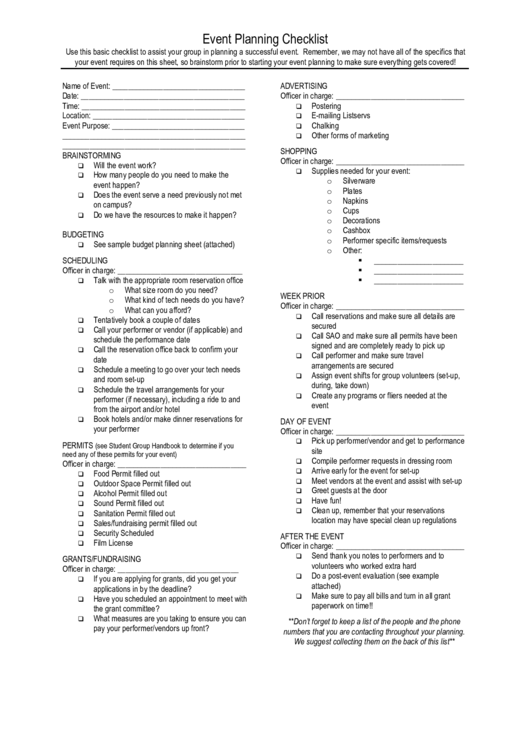 Event Planning Checklist Printable pdf