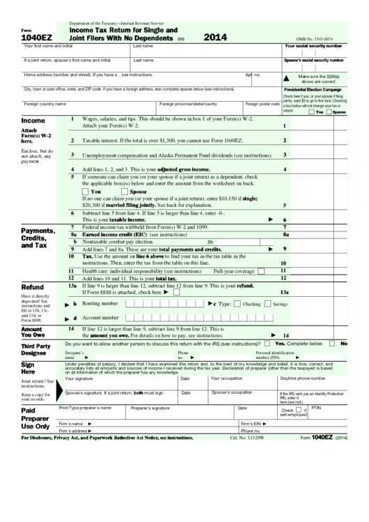 Best 2015 Irs Tax Form 1040ez Instructions Image Collection