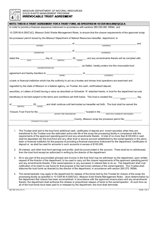 Fillable Form Mo 780-1272 - Irrevocable Trust Agreement - Missouri Department Of Natural Resources Printable pdf