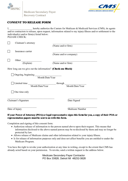 consent to release form printable pdf download