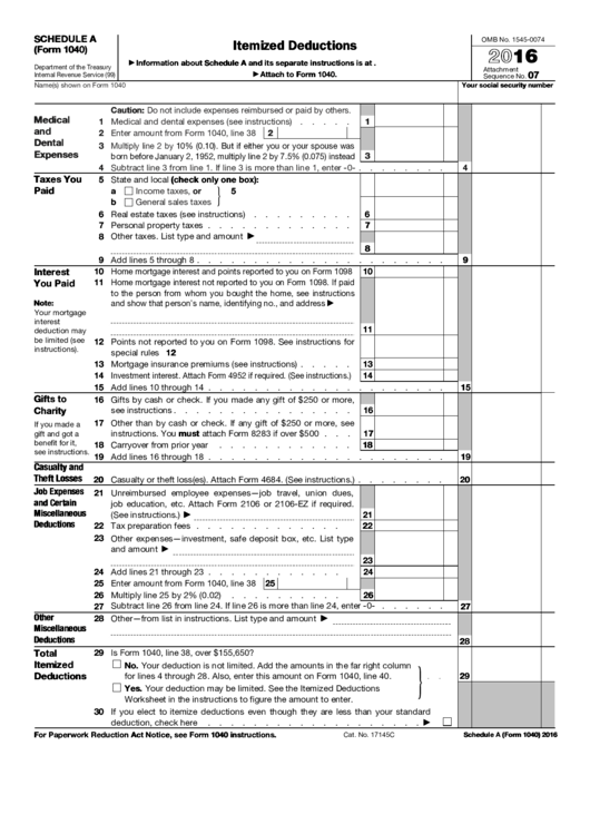 Fillable Schedule A Form 1040 Itemized Deductions Form 2016