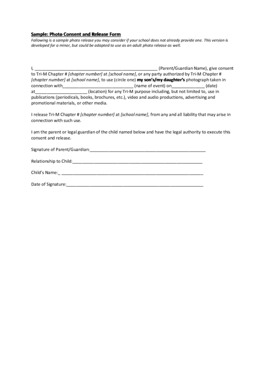 Sample: Photo Consent And Release Form