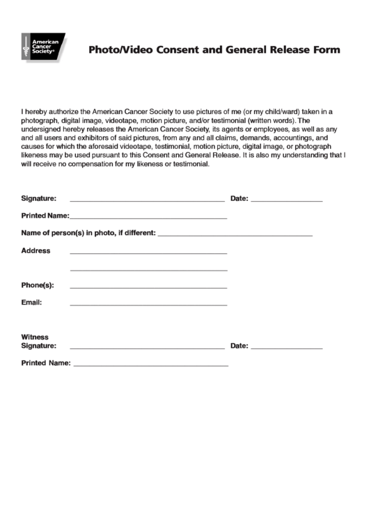 Photo Video Consent And General Release Form Printable Pdf