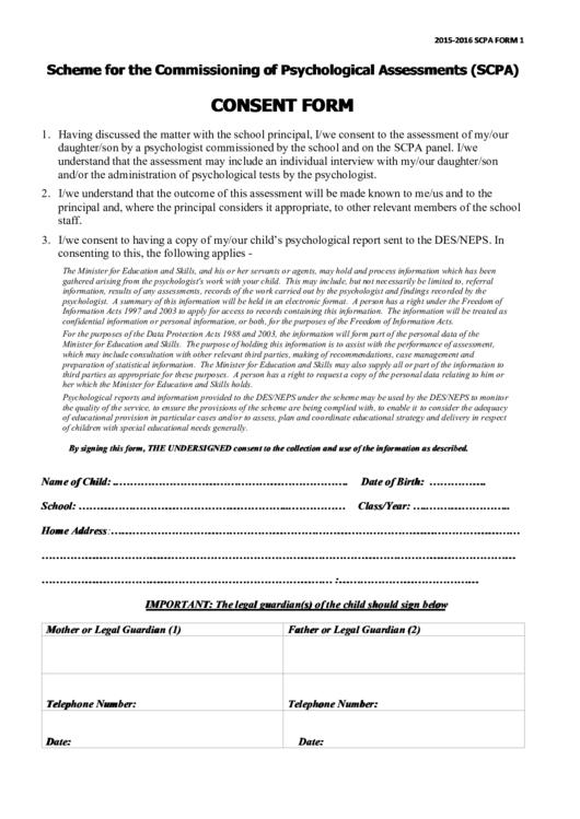 Consent Form For Psychological Assessments