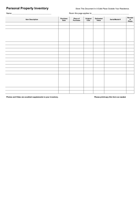 Personal Property Inventory Printable pdf
