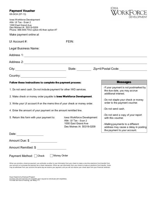 Payment Voucher Iowa Workforce Development