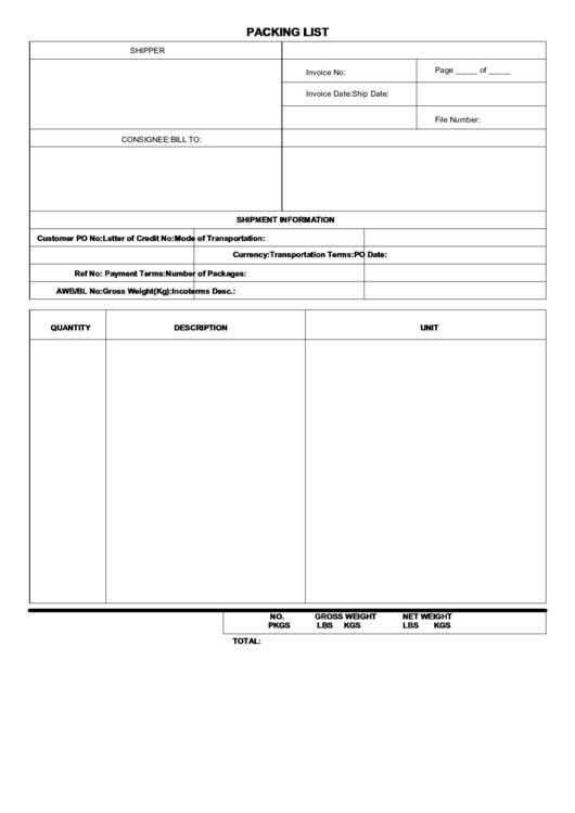 Packing List Template Printable pdf