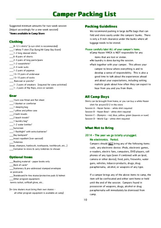 Camper Packing List Printable pdf