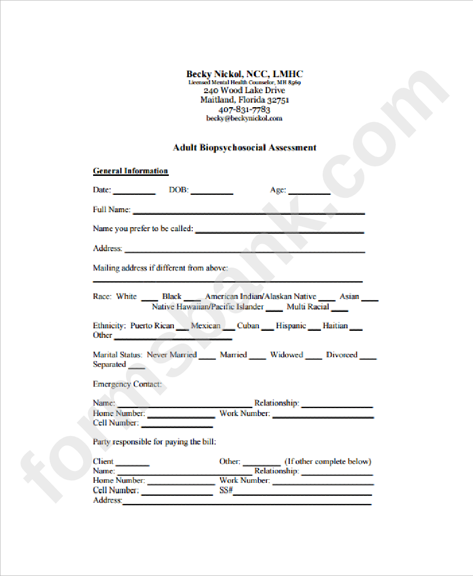 Biopsychosocial Assessment Template Printable Pdf Download