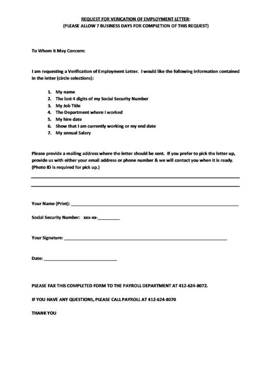 Employment Verification Letter Request Form Printable pdf