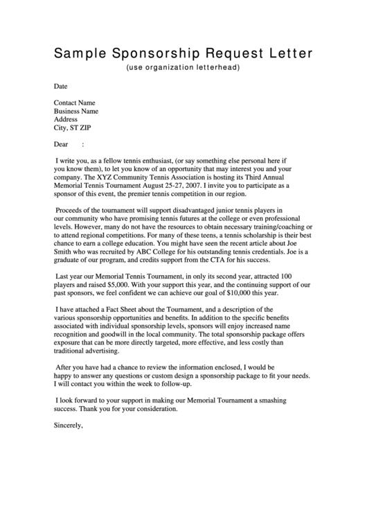 Sample Sponsorship Request Letter Template Printable pdf