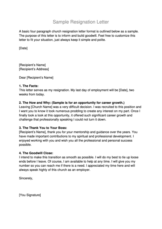 Sample Church Resignation Letter Template