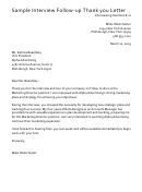 Sample Interview Follow-up Thank You Letter