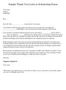 Sample Thank You Letter To Scholarship Donor