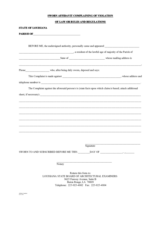 Top 18 Sworn Affidavit Form Templates free to download in PDF format