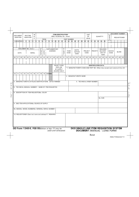 Fillable Dd Form 1348 6 Item Identification Printable Pdf Download