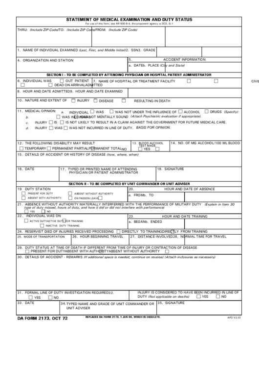 Da Form 2173 - Statement Of Medical Examination And Duty Status ...