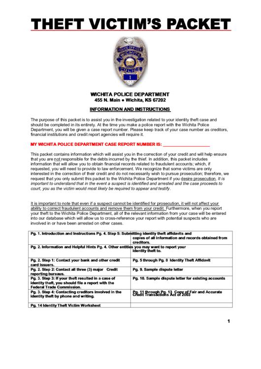 identity theft affidavit form wichita police department. Black Bedroom Furniture Sets. Home Design Ideas