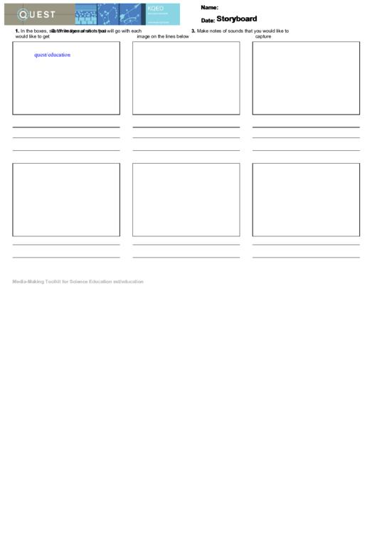 Video Storyboard Template Printable pdf