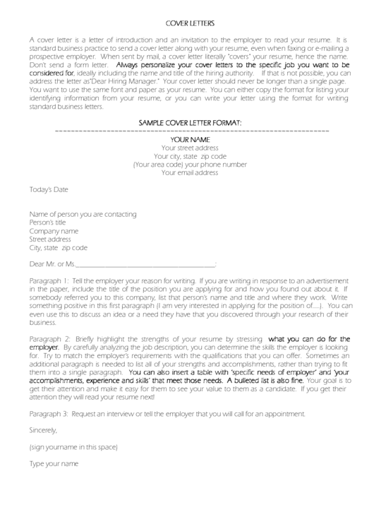 Cover Letter Sample With Instructions Printable pdf