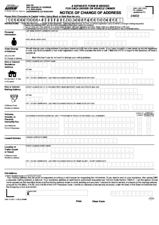 Form Dmv 14 - Change Of Address Template (fillable) printable pdf ...