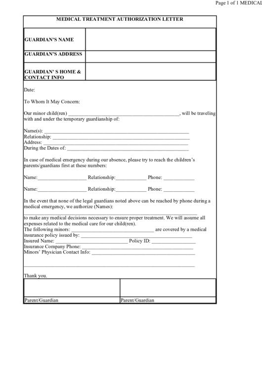 Medical Treatment Authorization Letter Template Printable pdf