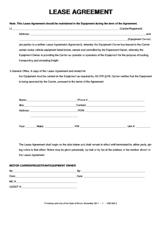 Fillable Lease Agreement Printable Pdf Download