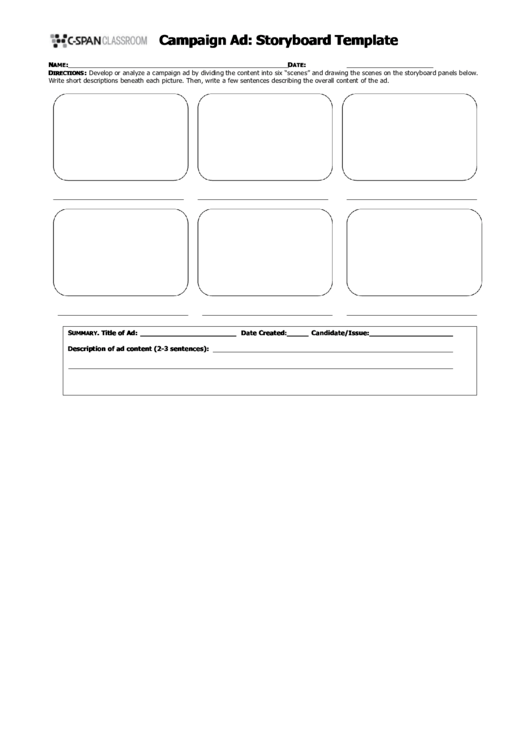 Campaign Ad: Storyboard Template Printable pdf